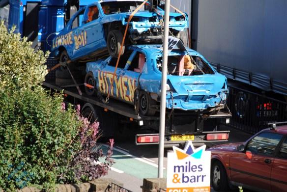 blue damaged cars