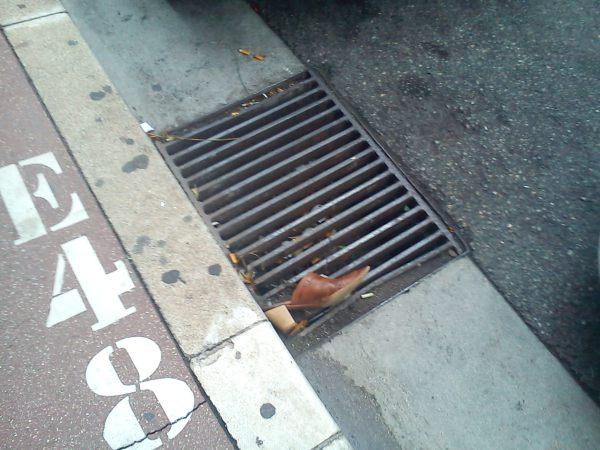 shoe in drain